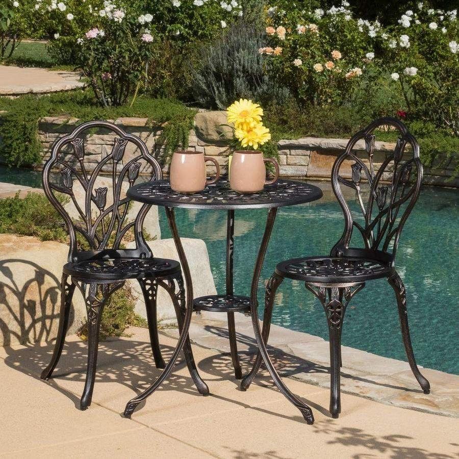 Weatherproof with Timeless Design Kinger Home 3 Piece Patio Bistro Table Set Outdoor Furniture Cast Aluminum Bistro Set Table with Cushions Black