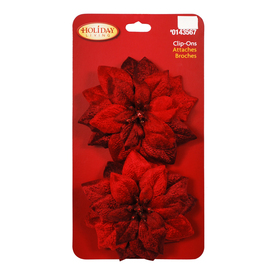 Holiday Living 2-Pack Clip Strip Poinsettia Decorative Bow