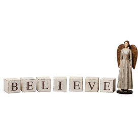 "Evergreen ""Believe"" Wood Blocks"