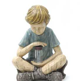 Garden Treasures 12-in H Boy with Firefly Jar Garden Statue