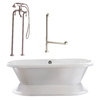 Giagni Wescott Acrylic Oval Pedestal Bathtub with Back Center Drain (Common: 40-in x 72-in; Actual: 23-in x 39.7-in x 70-in)