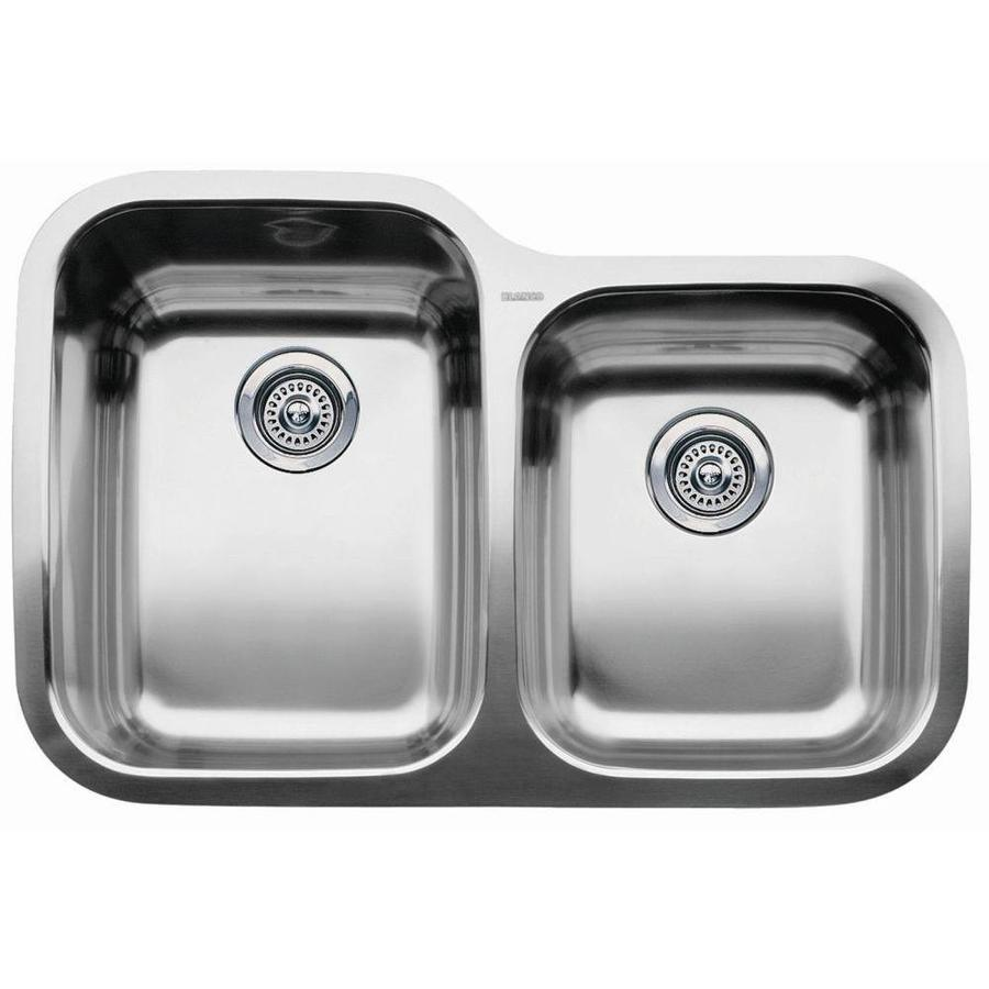 BLANCO Supreme Stainless Steel Double-Basin Stainless Steel Undermount ...
