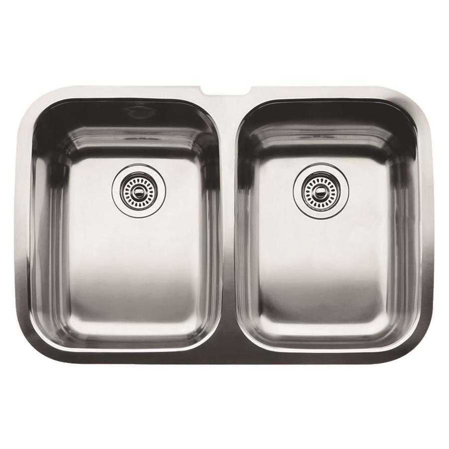 Shop Blanco Supreme X 32 In Stainless Steel Double Basin Undermount Kitchen Sink At