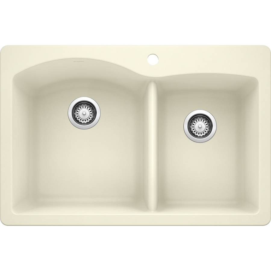 Shop blanco diamond double basin drop in or undermount granite kitchen sink at - Lowes kitchen sink ...
