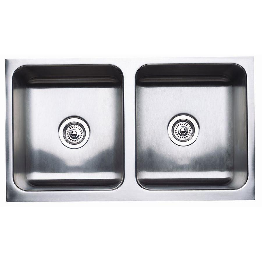 Stainless Steel Double Farmhouse Sink : ... Stainless Steel Double-Basin Apron Front/Farmhouse Kitchen Sink at