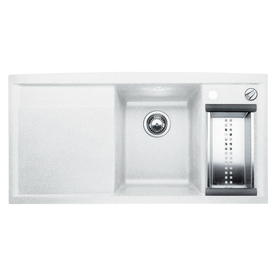 BLANCO White 1-Hole Double-Basin Composite Granite Undermount Kitchen ...