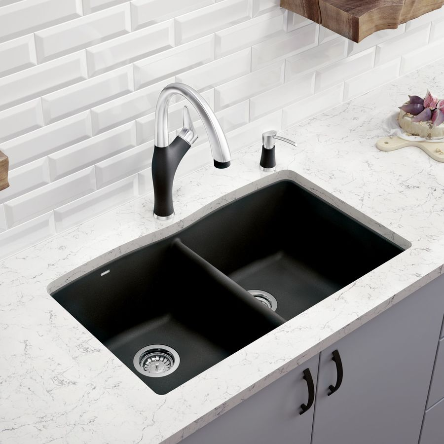 BLANCO Diamond Anthracite Double-Basin Granite Undermount Kitchen Sink ...
