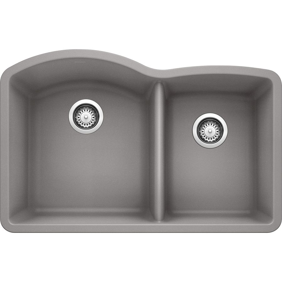 Shop BLANCO Diamond Double-Basin Undermount Granite Kitchen Sink at ...