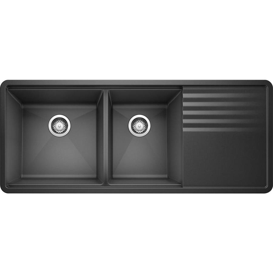 Shop blanco precis 20 in x 48 in anthracite double basin - Undermount granite composite kitchen sink ...