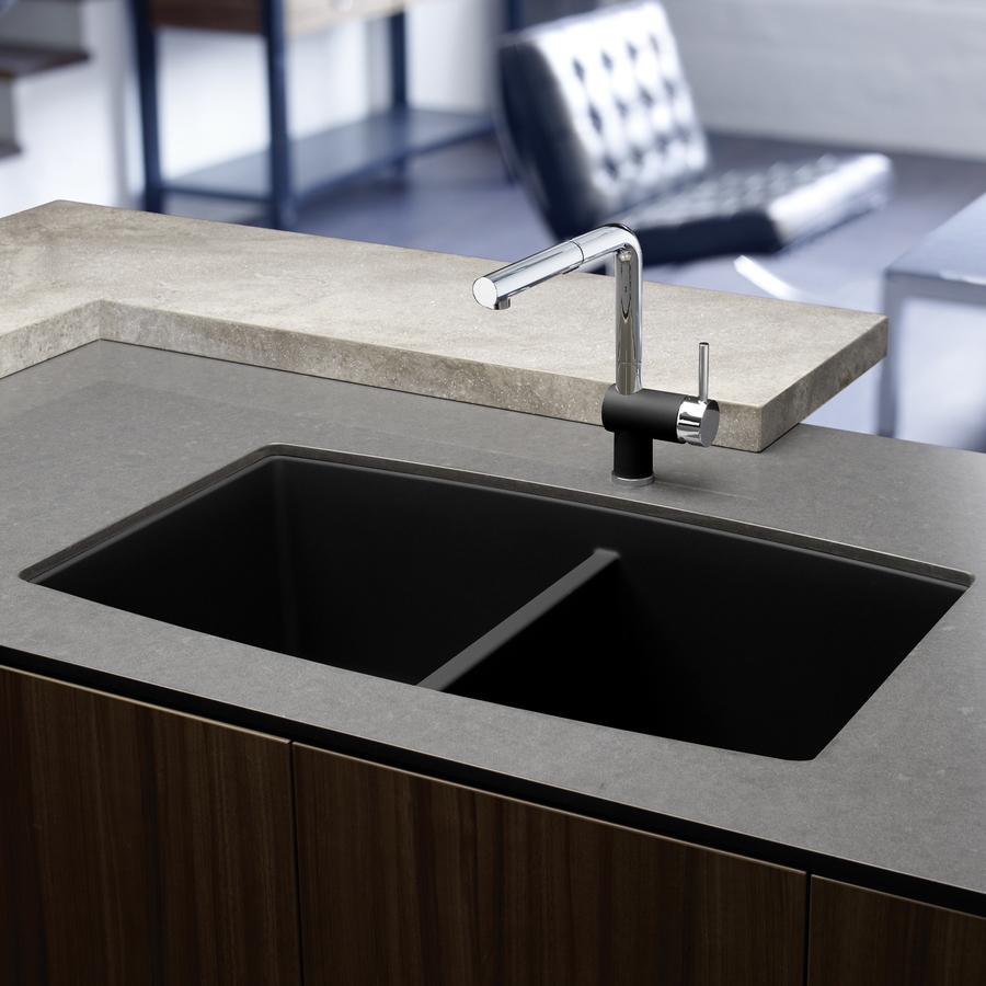 Shop Blanco Performa Anthracite Double Basin Granite Undermount Kitchen Sink At