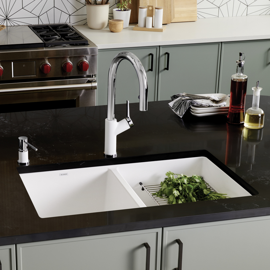 ... out zoom in blanco precis double basin undermount granite kitchen sink