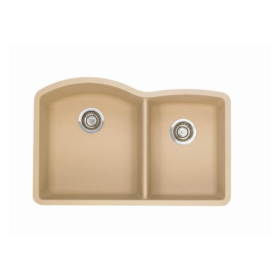 Granite Sinks Blanco : Shop BLANCO Diamond Biscotti Double-Basin Undermount Kitchen Sink at ...