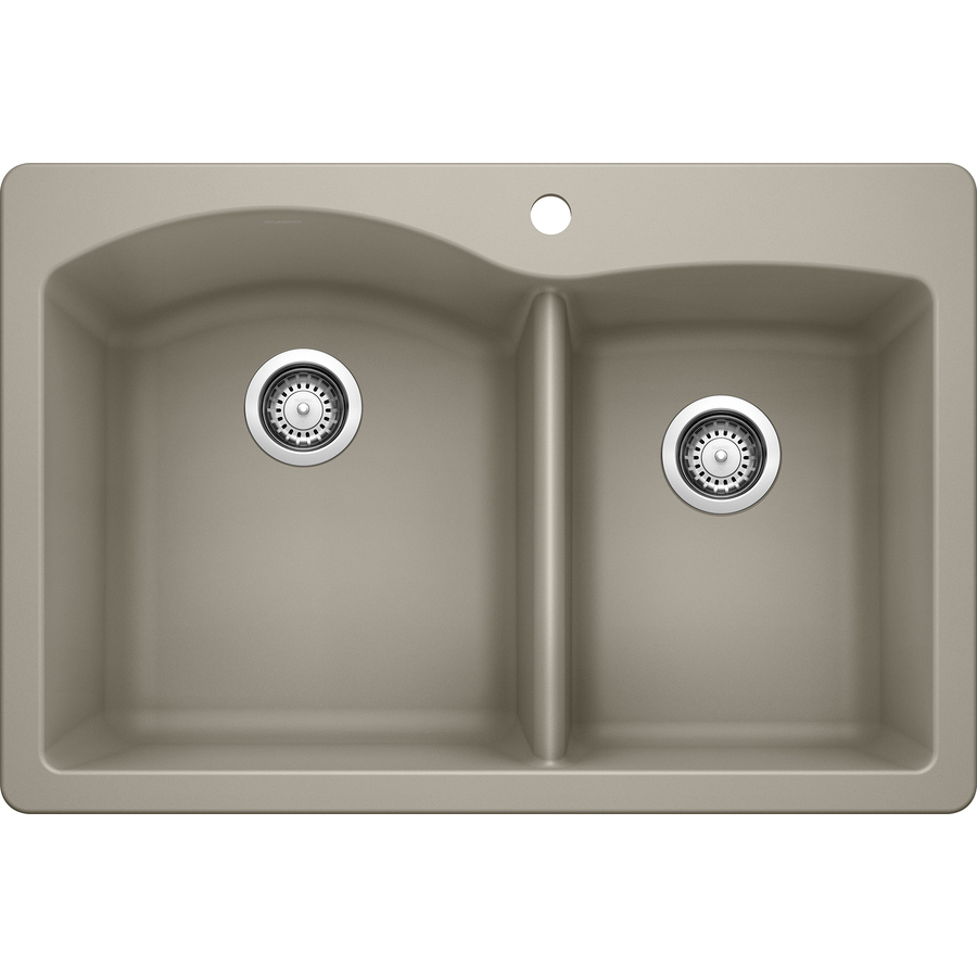 Shop BLANCO Diamond 22-in x 33-in Truffle Double-Basin Granite Drop-in ...