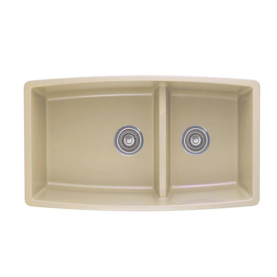 Shop blanco performa 19 in x 33 in biscotti 2 granite undermount customizable residential - Lowes kitchen sink ...