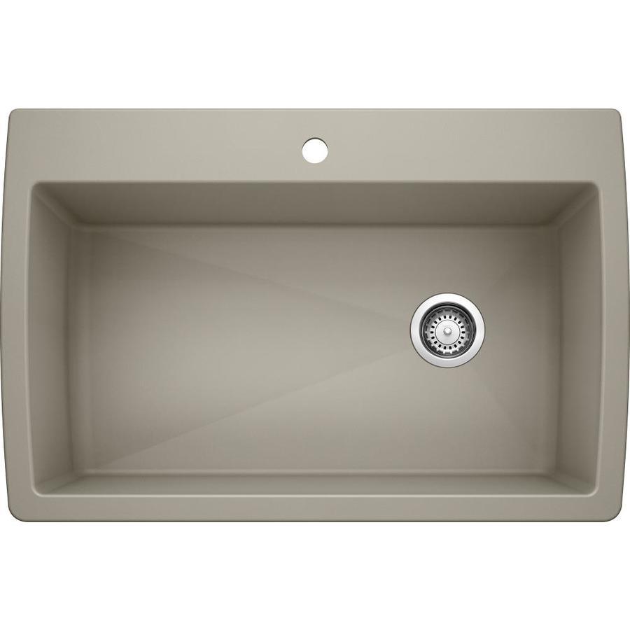Blanco Drop In Sink : Shop BLANCO Diamond 22-in x 33.5-in Truffle 1 Granite Drop-in or ...