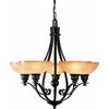 Goodell 28-in 3-Light Foundry Bronze Textured Glass Standard Chandelier
