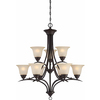 Chama 30-in 9-Light Antique Bronze Tinted Glass Standard Chandelier