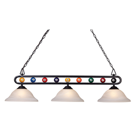 Westmore Lighting 50-in 3-Light Billiard Black Island Light with Alabaster Swirl Glass Shade