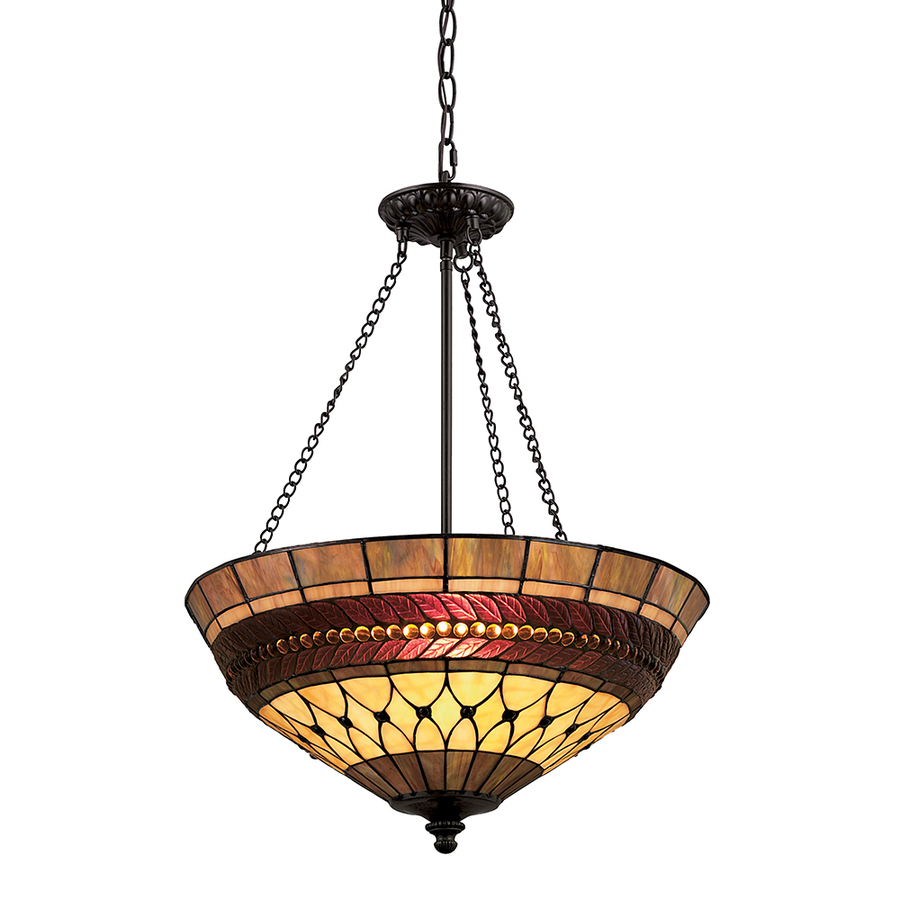 Shop Portfolio 27 In W Rust Tiffany Style Pendant Light