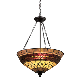 Portfolio 27-in W Rust Tiffany-Style Pendant Light with Tiffany-Style Glass Shade