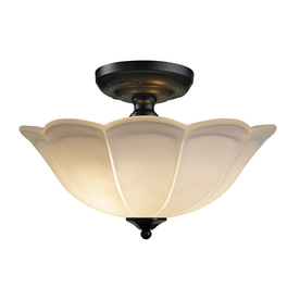 allen + roth 15-in Rust Frosted Glass Semi-Flush Mount Light