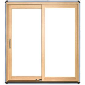 Pella 71-1/4-in Dual-Pane Clear Wood Sliding  Patio Door
