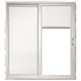 ThermaStar by Pella 25 Series 71.5-in Dual-Pane Blinds Between The Glass Vinyl Sliding Patio Door