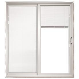 ThermaStar by Pella 25 Series 71.5-in Blinds Between the Glass White Vinyl Sliding Patio Door