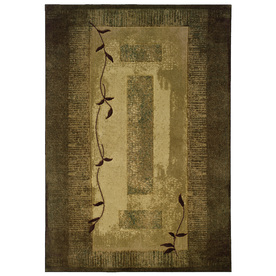 allen + roth Holder 5-ft 3-in x 7-ft 6-in Rectangular Green Border Area Rug