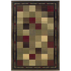 Oriental Weavers of America Sonoma 5-ft 3-in x 7-ft 6-in Rectangular Green Block Area Rug