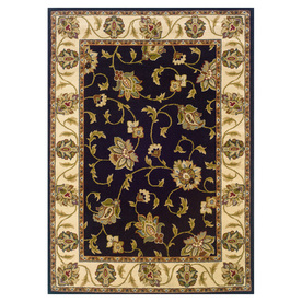 Oriental Weavers of America Addison 92-in x 130-in Rectangular Black Floral Area Rug