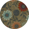 Oriental Weavers of America Cumberland 92-in x 92-in Round Brown/Tan Floral Area Rug