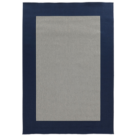 Garden Treasures Salem Rectangular Blue Border Indoor/Outdoor Woven Olefin/Polypropylene Area Rug (Common: 6-Ft x 9-Ft; Actual: 75-in x 115-in)