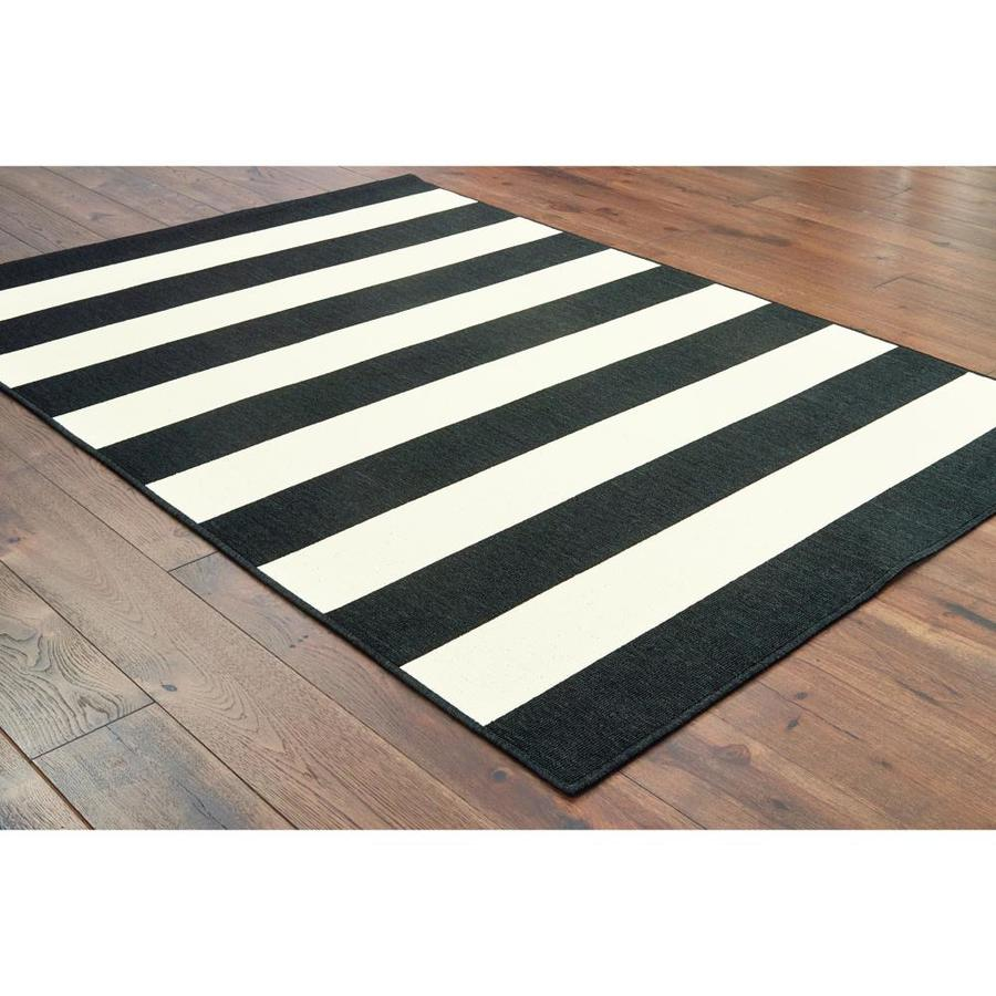 Garden Treasures Cabana Stripe 8 X 10 Black Indoor Outdoor Stripe Coastal Area Rug In The Rugs Department At Lowes Com