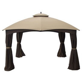 allen + roth 10-ft x 12-ft x 6.8-ft Brown Steel Gazebo