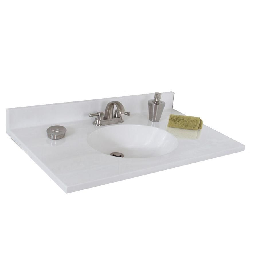 Shop Style Selections Oval White On White Cultured Marble Integral Single Sink Bathroom Vanity
