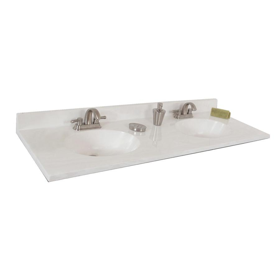 On White Cultured Marble Integral Double Sink Bathroom Vanity Top ...