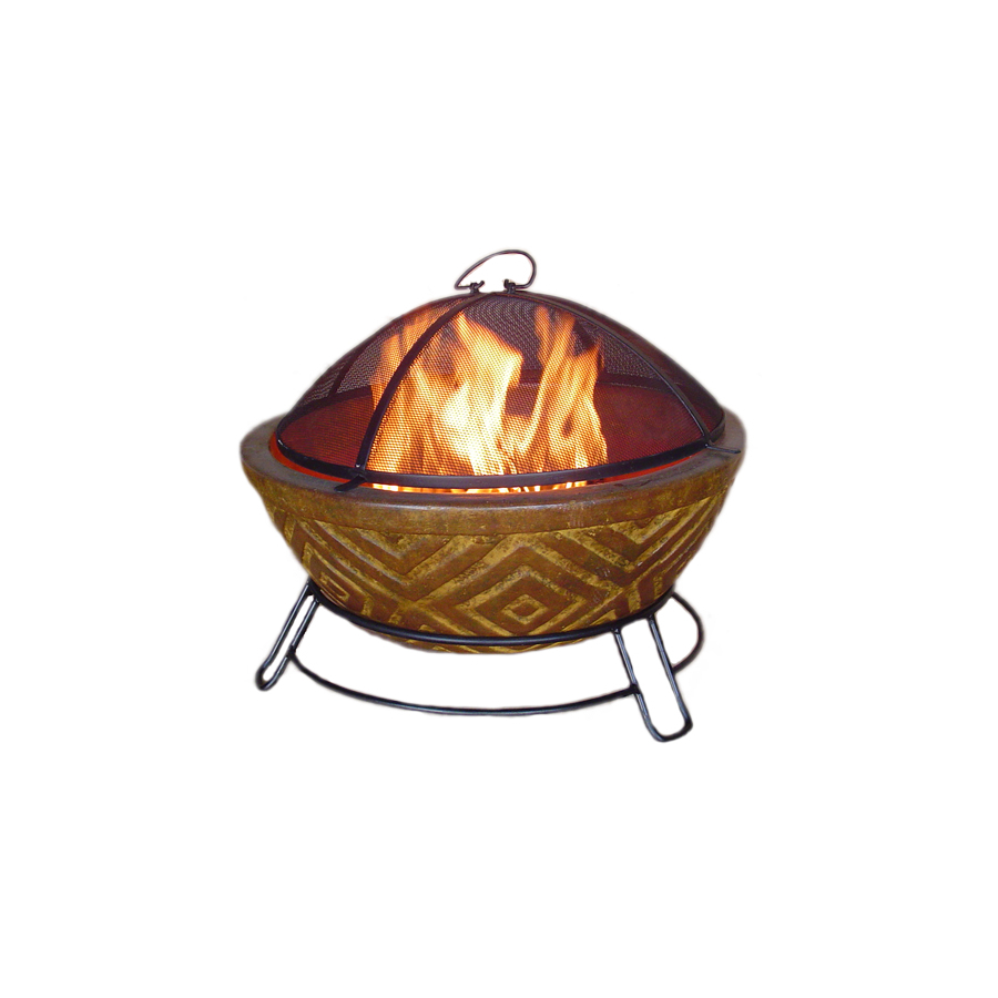 Shop Garden Treasures 22 In W Copper Clay Wood Burning Fire Pit At