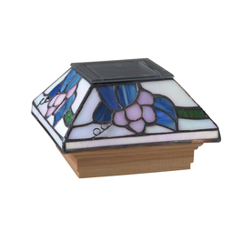 Maine Ornamental Stained Glass Glass and Wood Solar Post Cap Light (Common 4-in x 4-in; Actual: 3-5/8-in x 3-5/8-in)