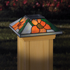 Maine Ornamental Stained Glass Glass and Wood Solar Post Cap Light (Common 6-in x 6-in; Actual: 5-5/8-in x 5-5/8-in)