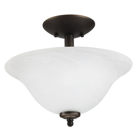 Good Earth Lighting 13-in W Lucerne Oil Rubbed Bronze Alabaster Glass Semi-Flush Mount Light