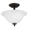 Good Earth Lighting Lucerne 13.25-in W Oil Rubbed Bronze Alabaster Glass Semi-Flush Mount Light