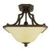 Good Earth Lighting 16-in W Metropolitan Bronze Tea-Stained Glass Semi-Flush Mount Light