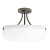 Good Earth Lighting 16.5-in W Coronado Pewter Frosted Glass Semi-Flush Mount Light