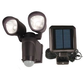 Utilitech 110-Degree 2-Head Black Solar Powered LED Motion-Activated Flood Light
