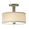 allen + roth 12-in W Valencia Brushed Nickel Fabric Semi-Flush Mount Light