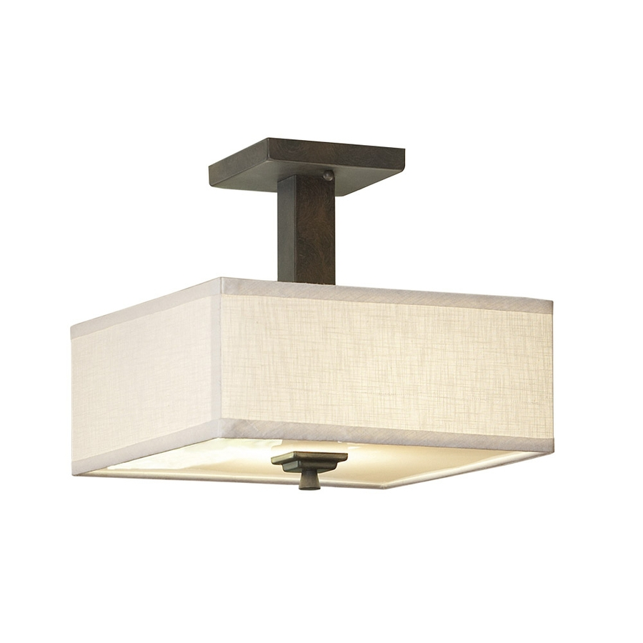 Shop Allen Roth Granada 12 In W Bronze Fabric Semi Flush