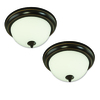 Good Earth Lighting 2-Pack Brentwood 11.25-in W Oil Rubbed Bronze Ceiling Flush Mount