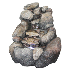 Lowe S 2 Tier Faux River Rock Fountain With Light