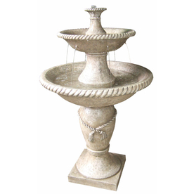 Shop garden treasures 2 tier fountain at lowescom for Garden fountains lowes